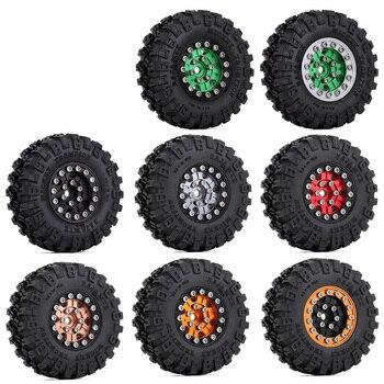 """INJORA 4PCS 1.0"""" Beadlock  52*17mm Wheel Rims Tires Set for 1/24 RC Crawler Car Axial SCX24 90081 AXI00001 AXI00002 Chevrolet 2"""