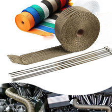 Header-Pipe Heat-Wrap-Tape Fiberglass Heat-Shield Stainless-Ties Thermal-Protection Motorcycle Exhaust
