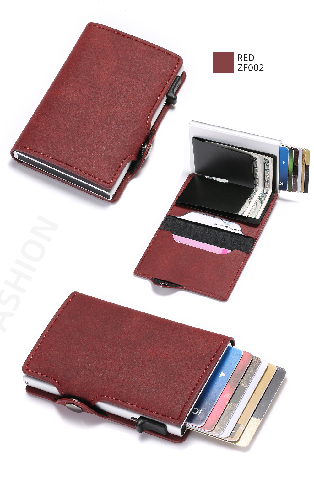 H7eb2eb745a5f41809073d67cf41a0d3cF - BISI GORO Single Box Card Holder PU Leather Card Wallet New Men RFID Blocking Aluminum Smart Multifunction Slim Wallet Card Case