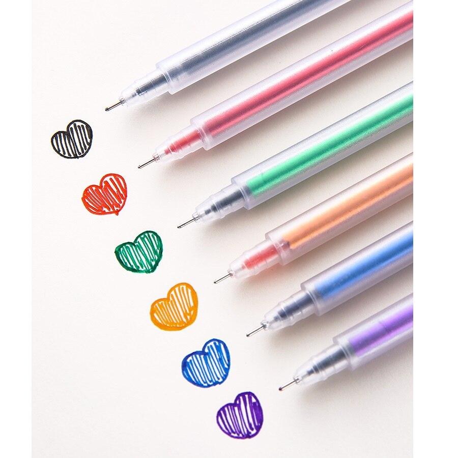 6pcs Simple Design Color Gel Ink Pen Set Matte Body Ballpoint 0.5mm Liner Marker Pens For Drawing Highlighting School A6080