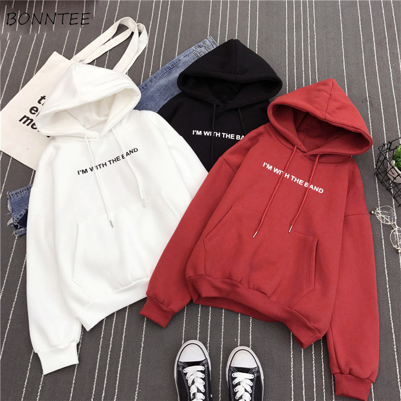 Hoodies Women Hooded Solid Winter Warm Thicker Plus Velvet Letter Printed Pockets Womens Hoodie Korean Style All-match Leisure