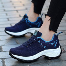 Woman Shoes Sneakers Ladies Basket Platform Heightening Lace-Up Thick Breathable Wedge
