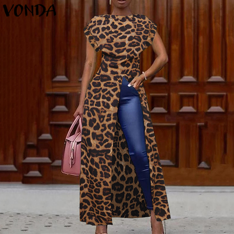 Leopard Blouse Women Tunic VONDA 2019 Summer Tops Vintage Long Shirts Office Holiday Split Hem Party Tops Plus Size Blusa