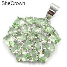Hot Sell Long Big Real Green Emerald Ladies Party 925 Gold Silver Pendant 40x35mm