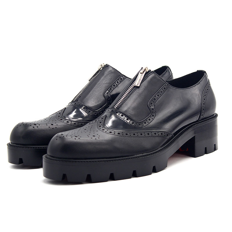 England Style Med Heels Mens Genuine Leather Brogue Shoes Zip Thick Platform Wing Tip Male Footwear Business Office Dress Shoes