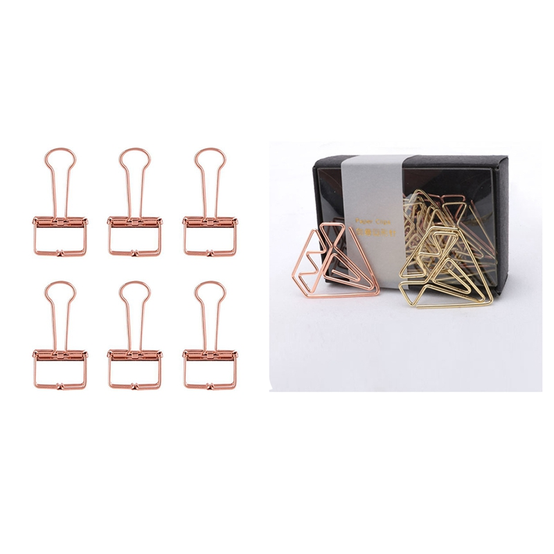 Bookmark Diamond Clip Rose Gold Clip Gold Staples Stationery Befriend Metal Paper Clip & Rose Gold Hollowed Out Design Binder Cl