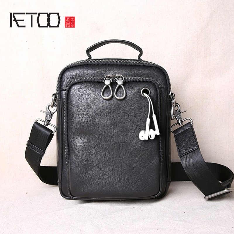 AETOO Leder herren Tasche Tote Casual Koreanische Business Erste Schicht Leder Schulter Tasche Messenger Bag Männer
