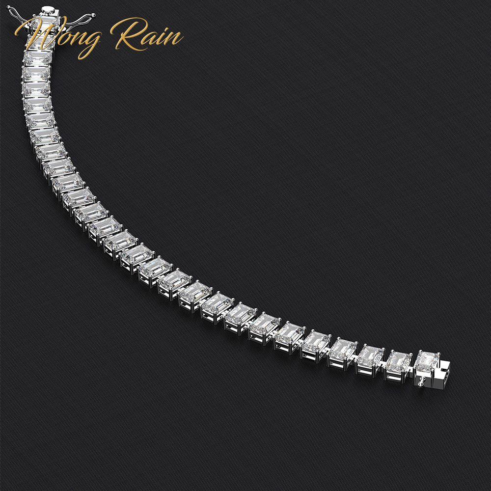 Wong Rain 100% 925 Sterling Silver 5 * 7 MM Created Moissanite Gemstone Bangle Charm Wedding Bracelet Fine Jewelry Wholesale