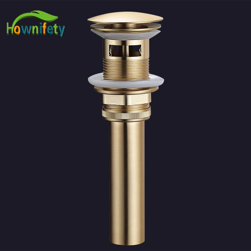 Wholesale And Retail Brushed Gold Finish Pop Up Drain Bath Strainer Drain With or not Overflow Kitchen Sink Accessories