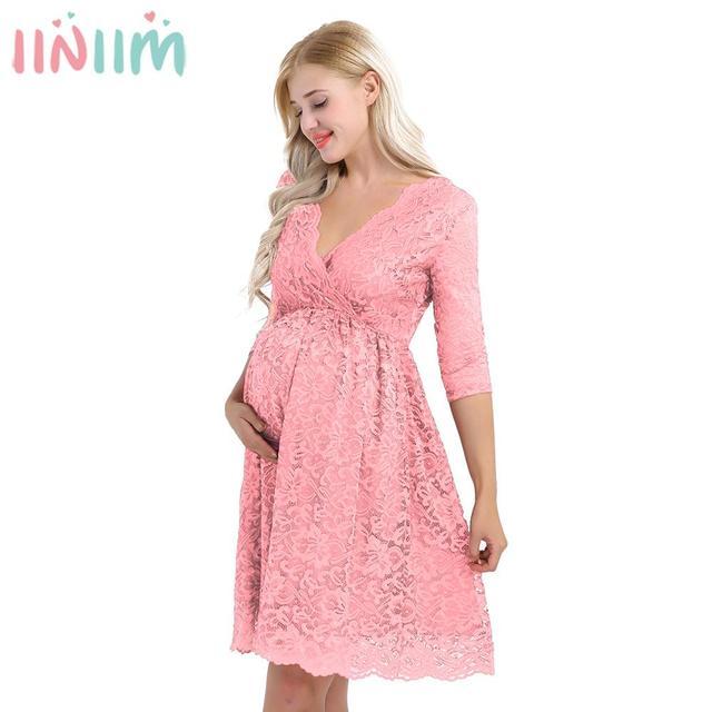נשים Femme אלגנטית יולדות שמלה פרחוני תחרת כיסוי V צוואר חצי שרוול בהריון צילום שמלת עבור לקחת חלק לנכש
