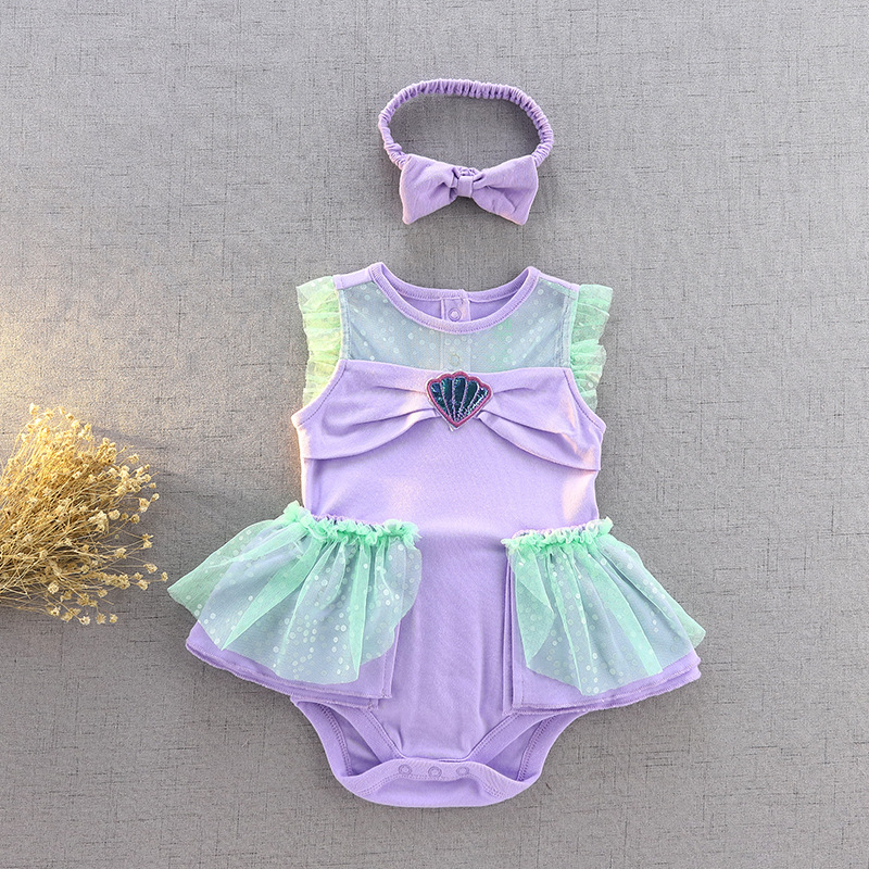 Kids Clothes Newborn Baby Girls Short Sleeve Cotton Climbing Suits Baby Floral Dress Girls Party Costume Hairband Jumpsuit Set