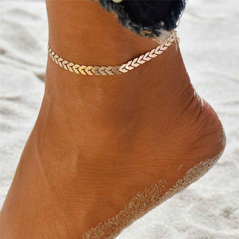 รองเท้าแตะเท้ารองเท้าแตะเครื่องประดับลูกศรปลา Heart ขา Chain Anklets สำหรับผู้หญิง Vintage โบฮีเมียสร้อยข้อเท้าเครื่องประดับชายหาด