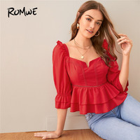 ROMWE Sweetheart Neck Ruffle Trim White Blouse Womens Tops and Blouses Autumn Peplum Flounce Sleeve Sweet Slim Fit Ladies Tops