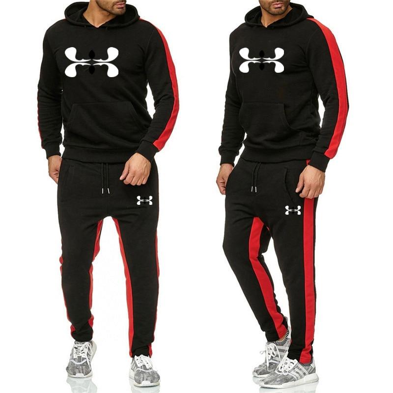 2019 Men New Logo Fashion Long Sleeve Hoodies+Pants Set Male Tracksuit Sport Suit Men's Gyms Set Casual Sportswear Suit