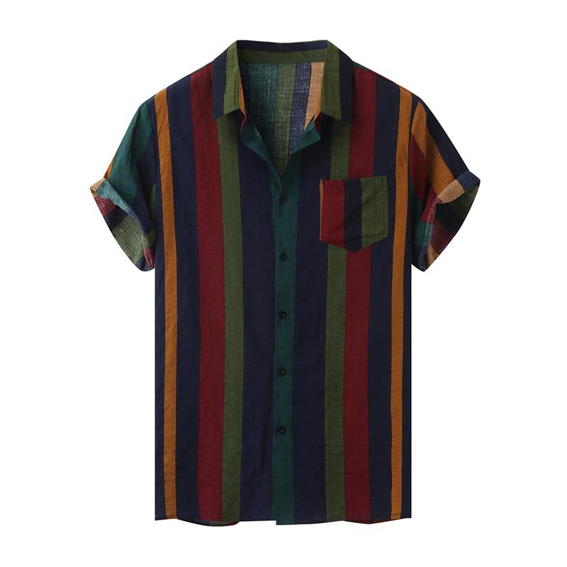 Hawaii Men Shirt Blouse Multicolor stripes Loose Short Sleeve Casual Buttons Cotton Beach Shirt Men camisas para hombre Oversize