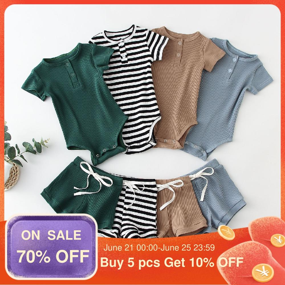 Hipapa Summer Infant Baby Boy Clothes Set Cotton Short Sleeve Baby Bodysuit +Pant Toddler Boy Outfits Spring Newborn Clothing