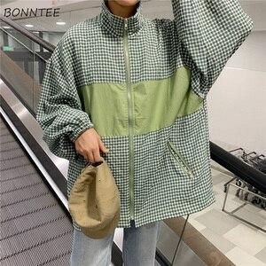Image 5 - Giubbotti Donne Plaid BF Coreano Harajuku Ulzzang Stile Manica Lunga casual Delle Donne Giacca All partita di Base Allentata di Alta Qualità alla moda