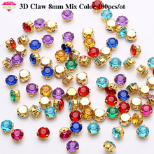 RESEN 8mm Acrylic 3D Gold Claw Rhinestone Mix Color Sew On Rhinestones For Sewing  Accessories With Gold Base For Wedding Dress resen 6mm mix fancy opal colors resin sew on rhinestones with gold claw pink blue green white opal sewing rhinestones diy dress