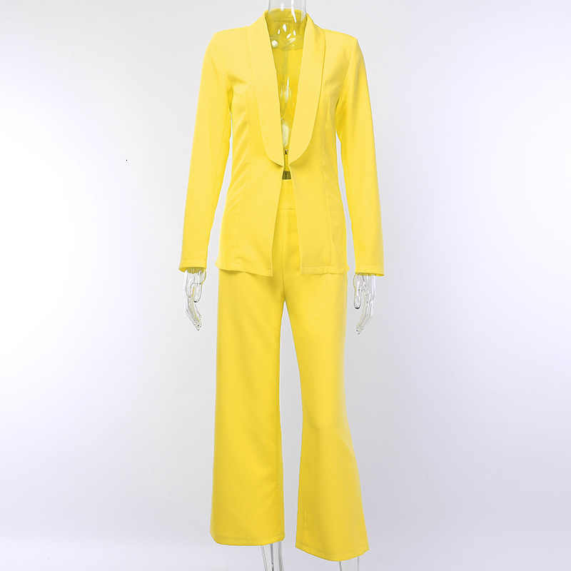 Justchicc Yellow Two Piece Set Jacket+pant Ladies 2019 Autumn Winter V Neck Sexy Club Party 2 Piece Set Women Suit Blazer Office