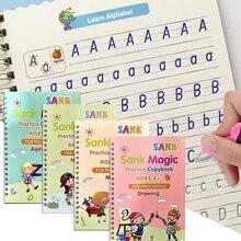 4 Книги% 2Fets of Children% 27s Magic Книги% 2C Многоразовые 3D Каллиграфия Тетради% 2C Английский Номер Надпись Магия Практика Тетради