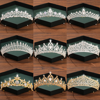 Silver Color Crown And Tiara Hair Accessories For Women Wedding Accessories Crown For Bridal Crystal Rhinestone Diadema Tiara 1