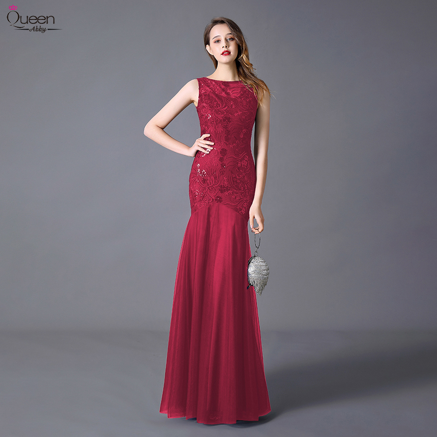 Plus Size Sequins Evening Dresses Long Embroidery Queen Abby Mermaid Sleeveless Women Lace Formal Party Gown Robe De Soiree 2020 4
