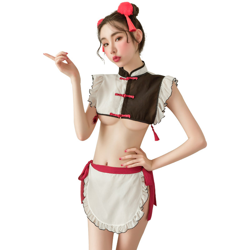 New Maid Outfit Thin Perspective Women Uniform Seduction Role Play Costume Party