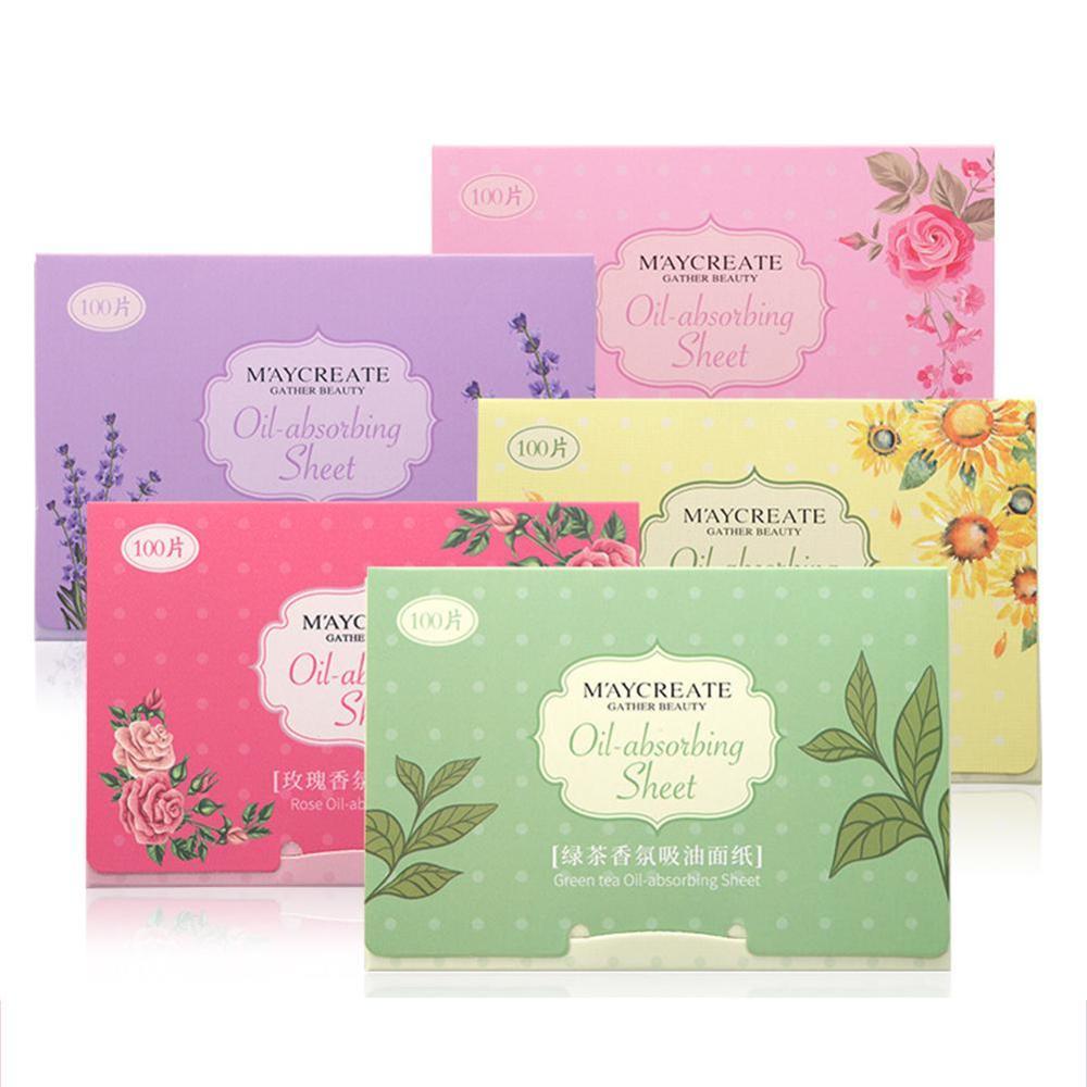 100pcs Korea Fragrant Tissue Paper Face Oil Absorbing Paper Plant Fibres Breathable Linen Pulp Blotting Paper For Face