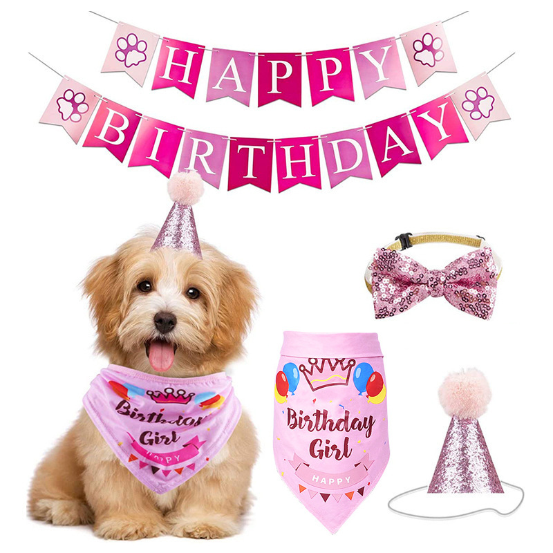 Fowecelt Handmade Adjustable Pet Birthday Party Decor Cat Dog Scarf Hat Collar Banner Accessories for DIY Pet Party Supplies
