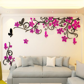 DIY Removable Vinyl Flower Wall Sticker Modern Decals For Wall Decor TV Background Decoration Mural Wallpaper For Living Room 1
