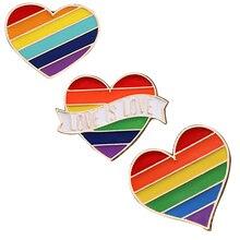 Kpop разноцветные геев любовь броши с сердечком для женщин девочек принцесса эмаль булавки кнопки значки милые ювелирные изделия сумка Аксессуары для одежды