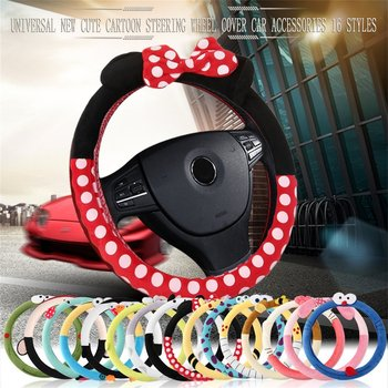 Car Styling Bow Car Steering Wheel Cover cute Cartoon Universal Interior Accessories Set Women/man 14 design Car covers Hot New hot sale car steering wheel cover ethnic style car steering wheel covers car accessories linen universal pretty ethnic style