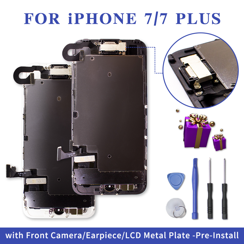 Pantalla Full LCD For IPhone 7 7 Plus 3D Tounch Display Digitizer Assembly Screen Replacement+Front Camera+Earpiece Speaker+Gift