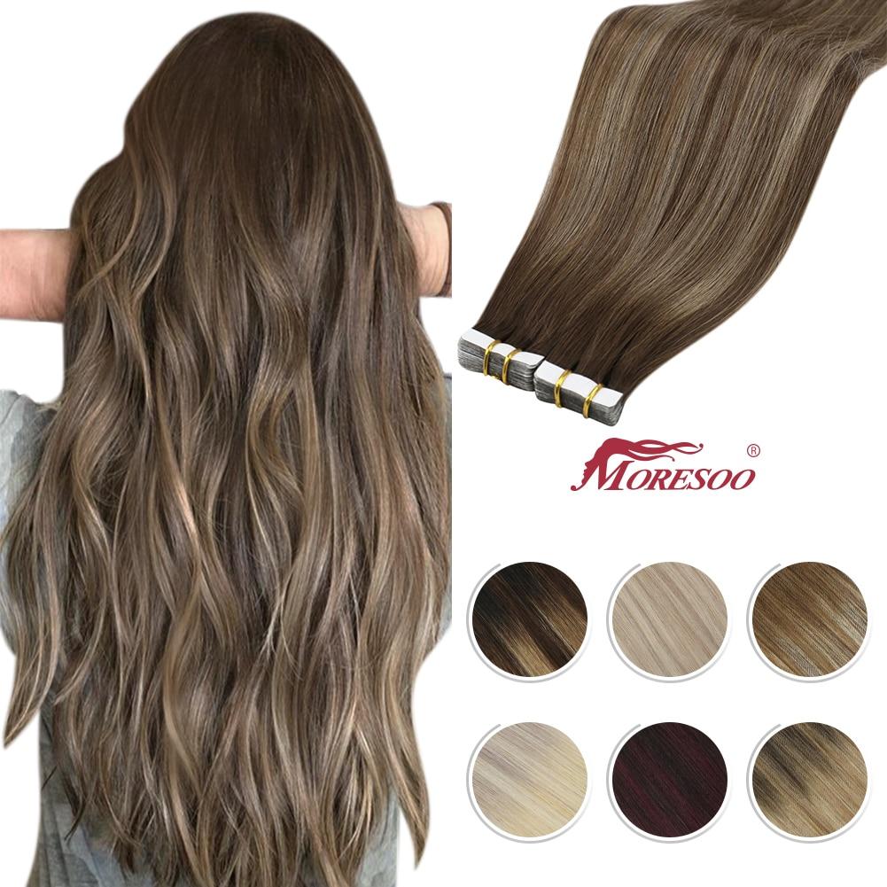 Moresoo fita em extensões de cabelo balayage ombre máquina remy real do cabelo humano para as mulheres invisível sem emenda da pele do plutônio trama reta