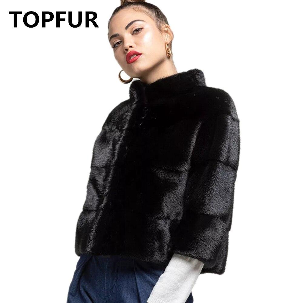 TOPFUR Winter Basic Jacket Women Plus Size Real Mink Fur Coat Genuine Leather Jacket Short Women Real Fur Coat Spring Collection