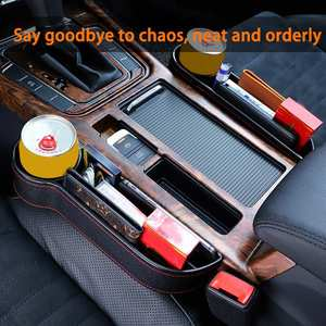 Car Seat Gap Slit Pocket Catcher Organizer PU Leather Storage Box Phone Wallet Bottle Cups Holder Auto Car Interior Accessories(China)