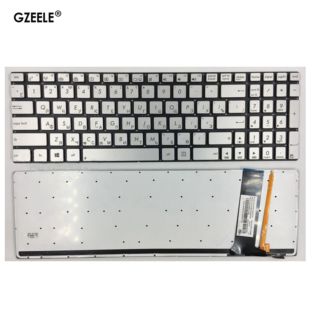 Russian Laptop Keyboard For ASUS N56 N56V U500VZ N76 R500V R505 N550 N750 Q550 RU Layout Silver With Backlit Notebook Keyboard