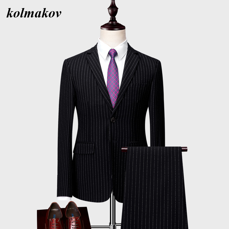 (Jacket And Pants) New Arrival Style Men Boutique Stripe Suits Dress High Quality Business Casual Men's Two-piece Suits M-6XL