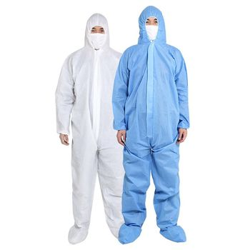 PPE Suit Disposable Full Body Protective Suit Antibacterial Closures Isolation Suit Protective Clothing Coveralls Waterproof