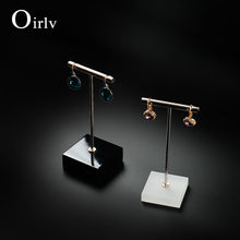 Oirlv Metal T bar  Earrings Display Rack Stand Women Jewelry Display Holder Ear Nail Exhibitor Showcase  Jewelry Organizer Box