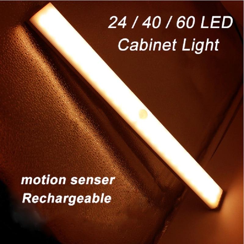 Rechargeable 24/40/60 LEDs Cabinet PIR Motion Sensor Light Bar For Closet Wardrobe Under Cabinet Energy-saving Night Light DC5V