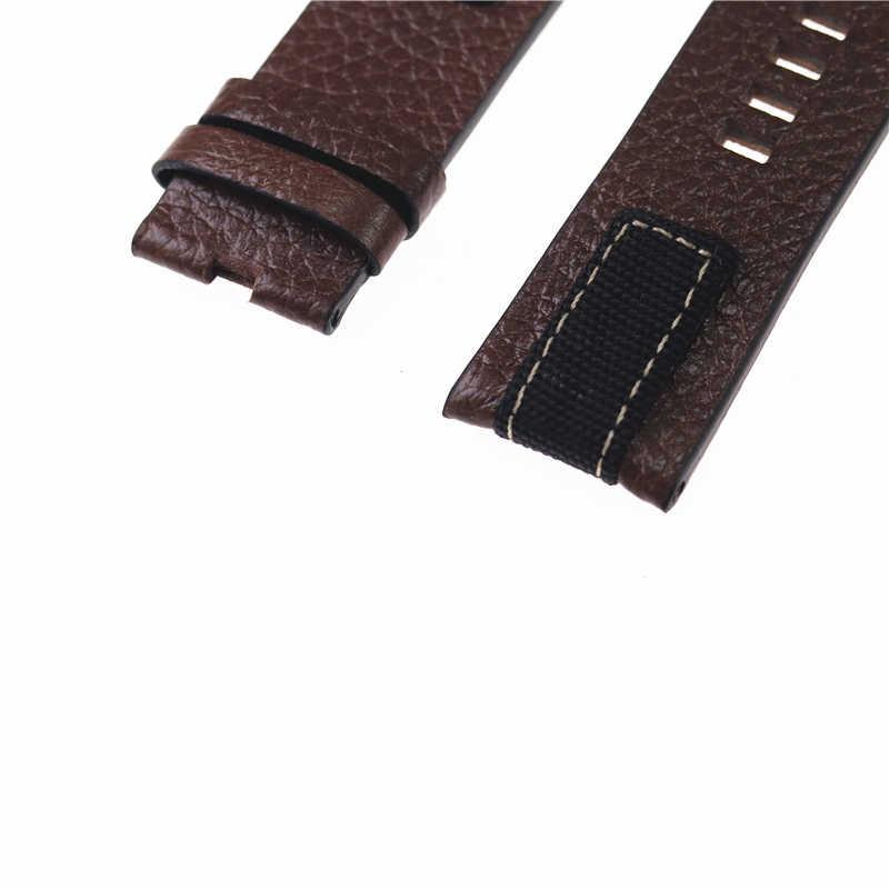 26 مللي متر دنيم عال الجودة و الجلود حزام ل الديزل DZ4345 حزام ساعة اليد الفرقة سوار مع مشبك براون الجلود سلسلة