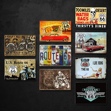 HUAZI USA Vintage Metal Tin Signs Route 66 Car Number License Plate Plaque Poster Bar Club Wall Garage Home Decoration 30x20cm