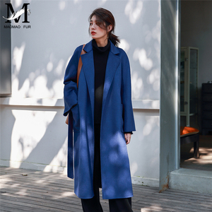 Image 5 - 2019 女性の秋の冬のカシミヤコートのファッションの高級カシミヤウール水の波紋キャラメルコートトレンチ