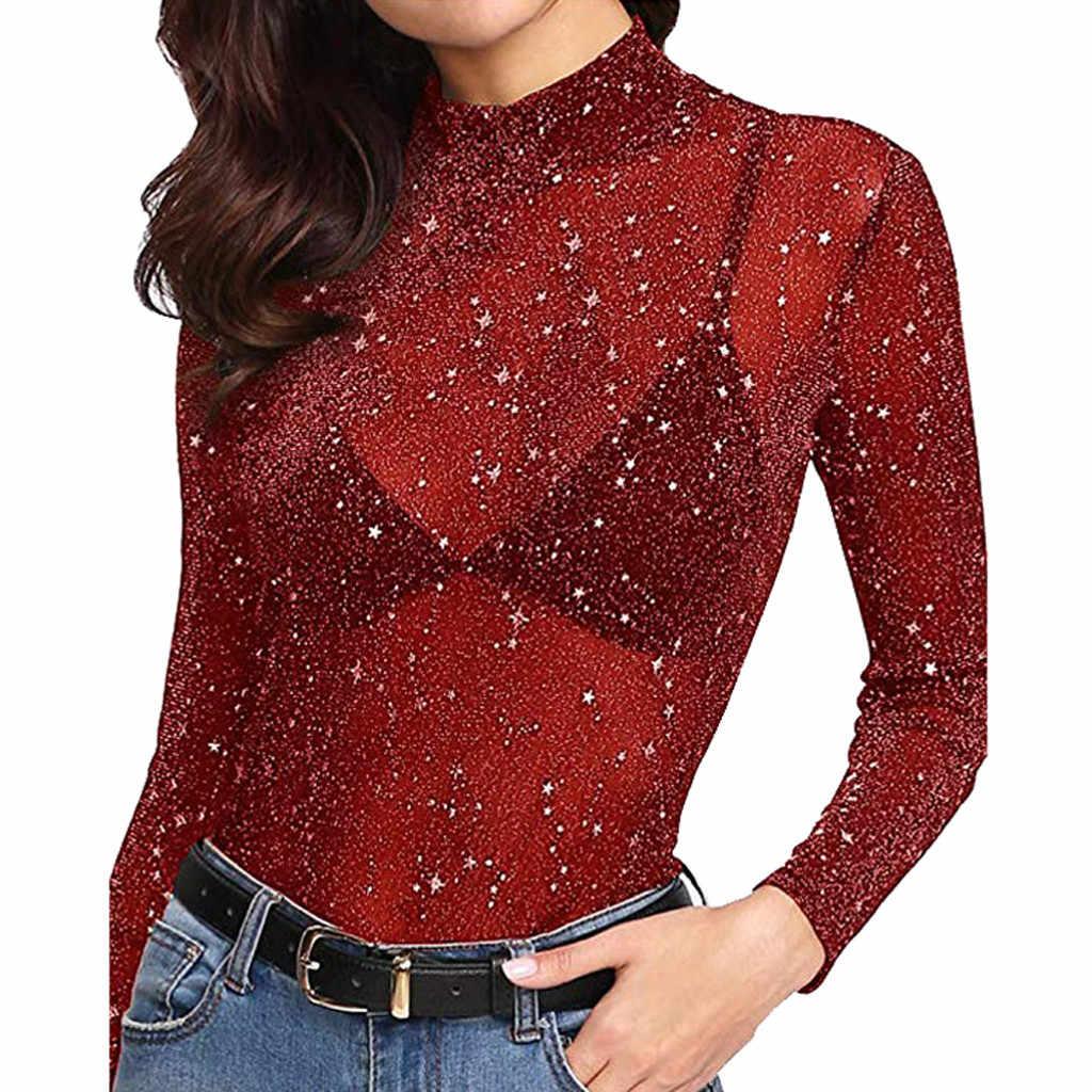& 40 letnia seksowna bluzka damska cekinowa koszula przezroczysta z długim rękawem Glitter Top Mesh Sheer koszula bluzka mujer de moda 2019