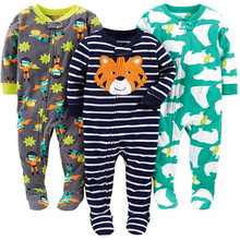 Children's jumpsuits for 2-4 years old, pajamas for boys and girls, baby polar fleece jumpsuits, and three children's pajamas.