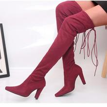 women over the knee boots high heels warm shoes woman pointed toe  lace up booties wxz121