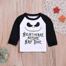 T-Shirt Tops Long-Sleeve Newborn Baby-Boy-Girl Cotton Infant Print Letter Ghost Halloween