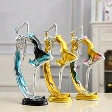 Creative Ballerina Girl Resin Statue Elegant Chic Dancing Girl Figure Craft Sculpture Desktop Ornament Wine Cabinet Home Decor