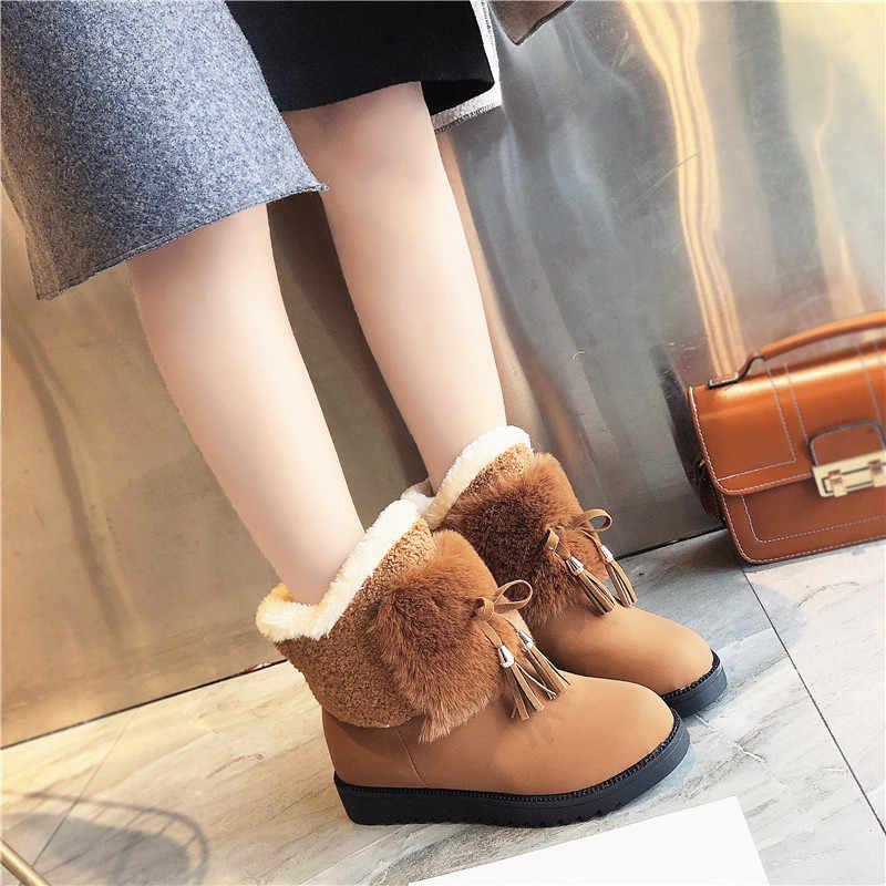 Klasik kadın kış çizmeler süet ayak bileği kar botları kadın sıcak kürk peluş astarı yüksek kaliteli Botas Mujer artı boyutu kış ayakkabı